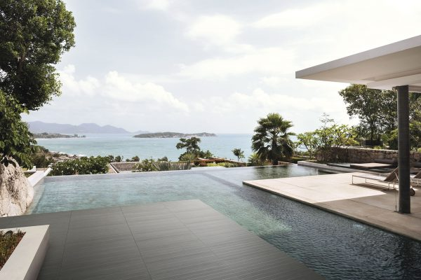 The View From The Patio Of An Island Villa Out To The Ocean.